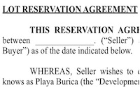 Lot Reservation Agreement